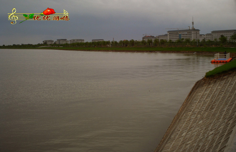 张掖市黑河湿地绿水青山秀蓝天白云节水洁水