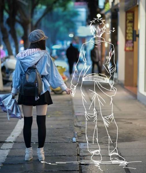 虚幻空间的美丽爱情假想 美女约会二次元男友