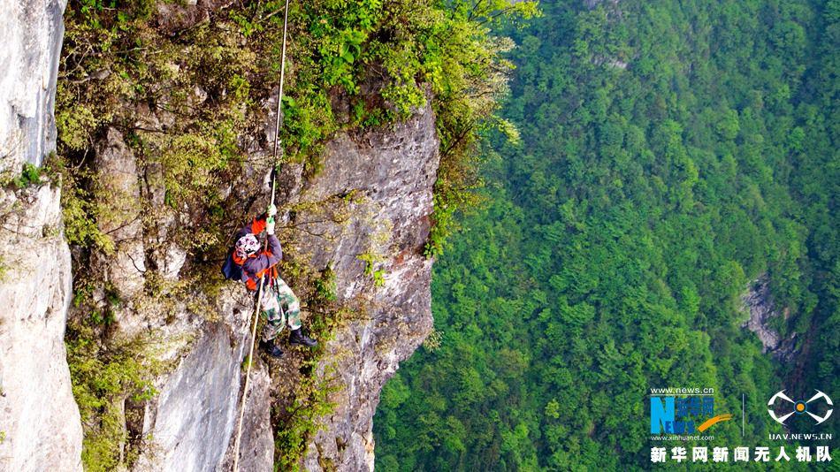 无人机镜头下的最美劳动者——悬崖上的环卫工 - 人在上海    - 中国新闻画报