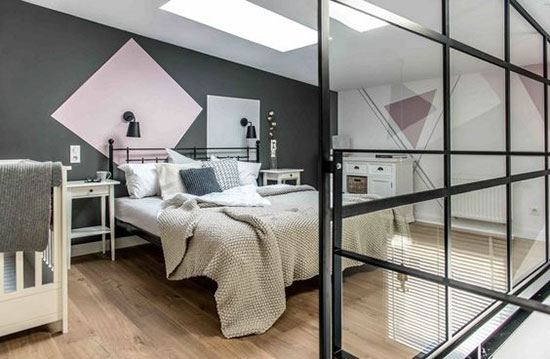 卧室墙面用了许多几何元素,营造出前卫的视觉效果.图片