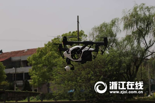 无人机巡河扫盲区 吴兴科学治水用上新利器
