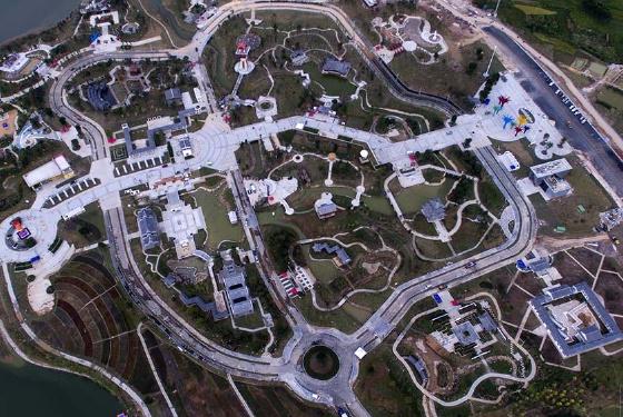 航拍第八届广西园林园艺博览会园区
