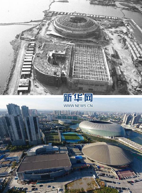 并与90年代在飞机上航拍的照片进行对比,可以看出天津的发展变化.图片