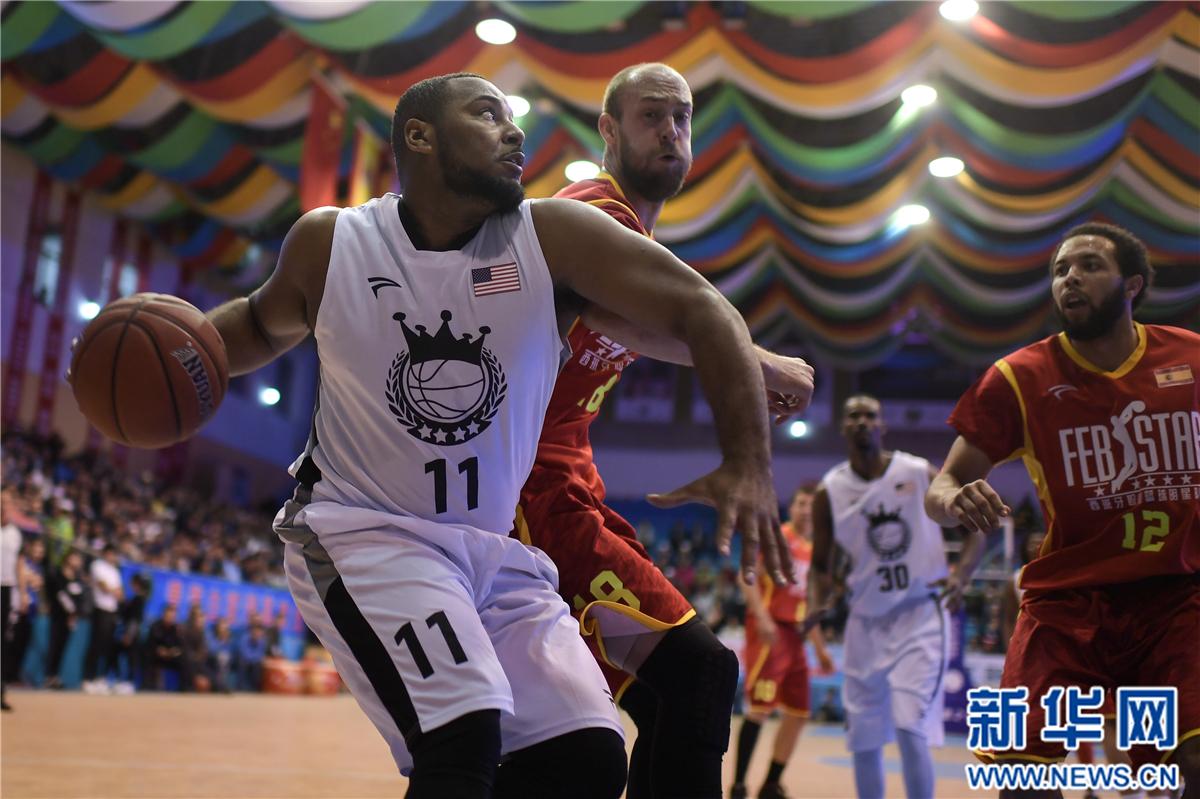 篮球——青海国际男篮争霸赛:美国海军上将队胜西班牙明星队