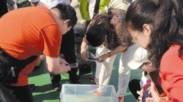 大连市民代表乘船体验海洋渔业增殖放流
