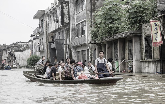暴雨洪水中的千年古镇大通
