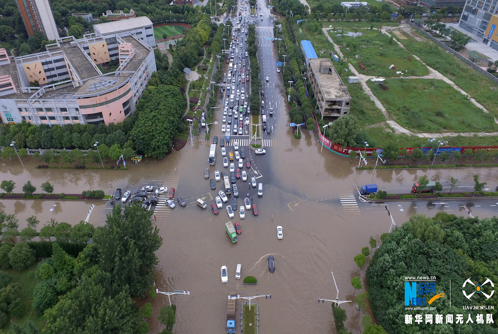 航拍:南京遭遇罕见暴雨