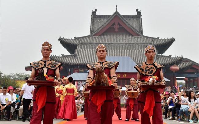 山西洪洞举行中元节祭祖大典
