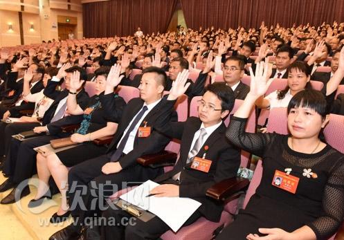 钦州:党代表举手通过有关决议