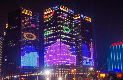 西安最先进的楼体灯光秀亮相高新区