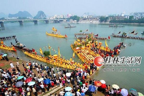 桂林老照片:不同历史时期漓江上的龙舟赛