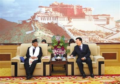 吴英杰会见尼泊尔总理普拉昌达