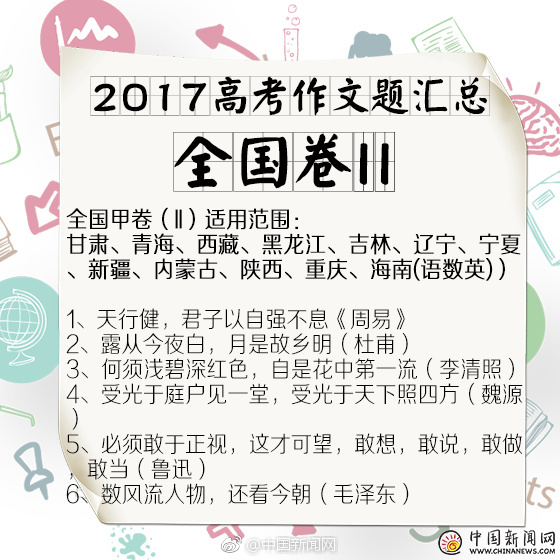 2017陕西高考作文题目公布 根据古诗句自拟题目