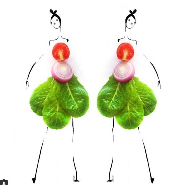 r ehrs)在自己时髦的画作上粘贴健康的水果和蔬菜,特别是蘑菇,莴苣