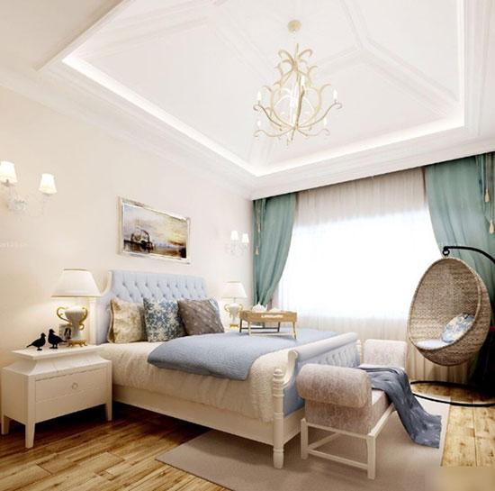 欧式床搭配浅色木纹地板效果图
