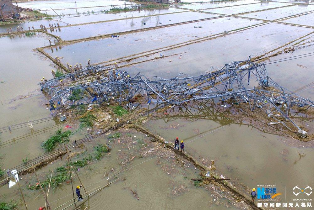 新华网航拍盐城龙卷风受灾现场