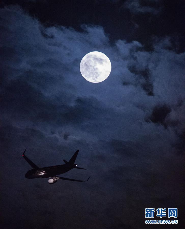 这是11月14日在江苏南京拍摄的一架飞机飞过夜空。 据天文学家介绍,本年度最大最圆的月亮(又称超级月亮)于11月14日(农历十月十五)现身夜空。超级月亮是指月球运行到轨道上最接近地球的点的同时,正好是满月。这时的月亮会比平常看上去更大。新华社记者 李响 摄