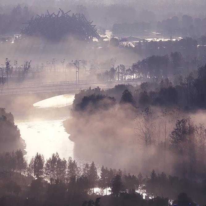 合肥晨雾美如仙境