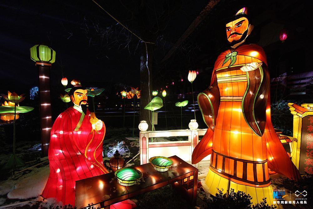 """航拍:震撼的许昌""""三国文化""""主题上元灯会"""