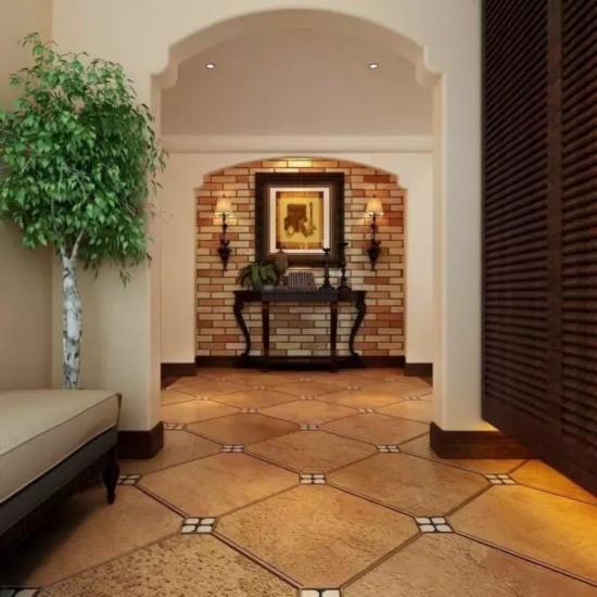 客厅花地砖拼贴装修设计效果图:仿古典风格