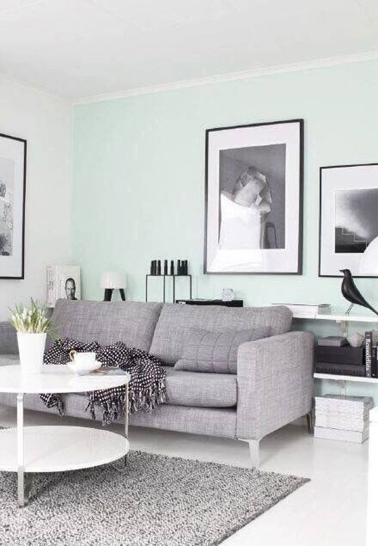 蓝灰色墙面装修效果图