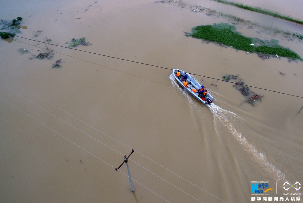 新华网航拍:安徽桐城特大暴雨受灾现场