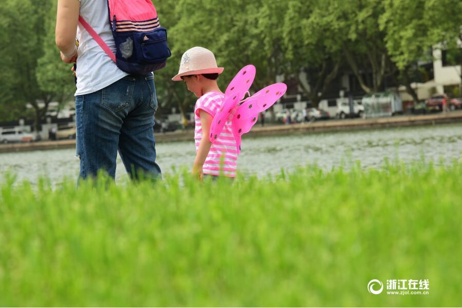 杭州:气温不降 游兴不减