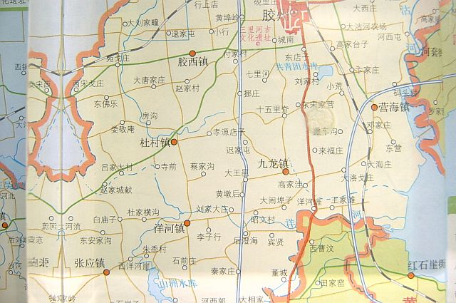 (图为新版胶州市地图——  胶南镇)(图取材自《山东省地图册 》 中国