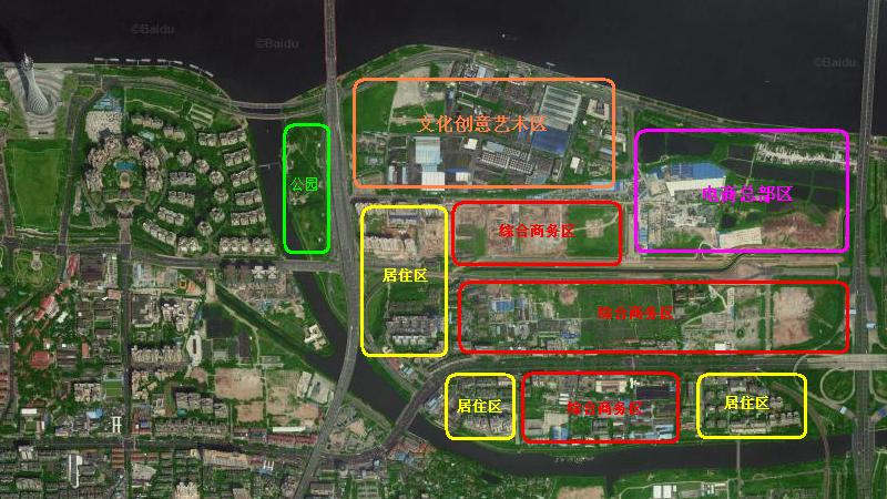 描述:琶洲西区(磨碟沙)的功能板块规划.-广州 琶洲 磨碟沙