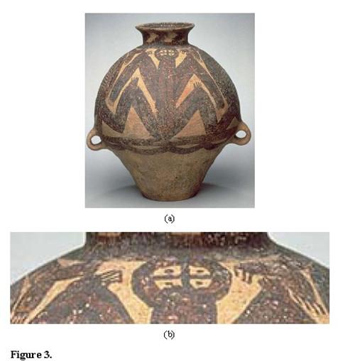 描述:图三中国仰韶文化的陶瓷器花纹