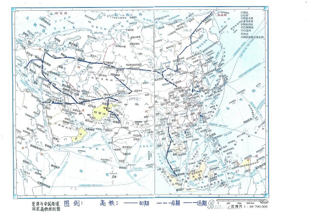 我分别绘制了亚洲及一些尚未修建高铁国家的高铁线路图,对这些国家的