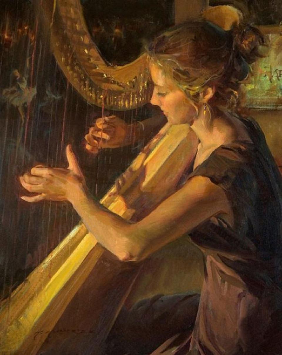 Картинки по запросу девушка играет на арфе