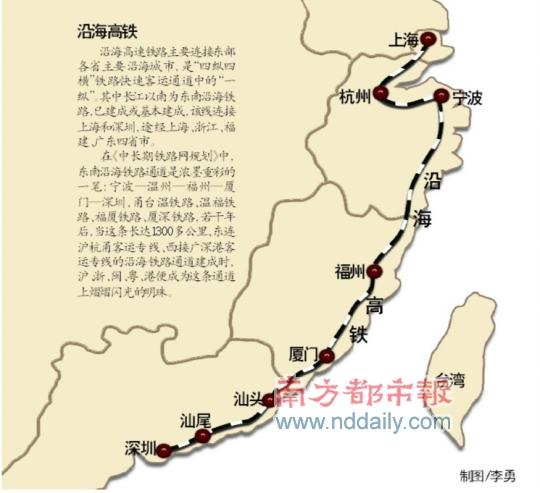 沿海大动脉 长三角到珠三角高铁将在2011年底全线开通高清图片