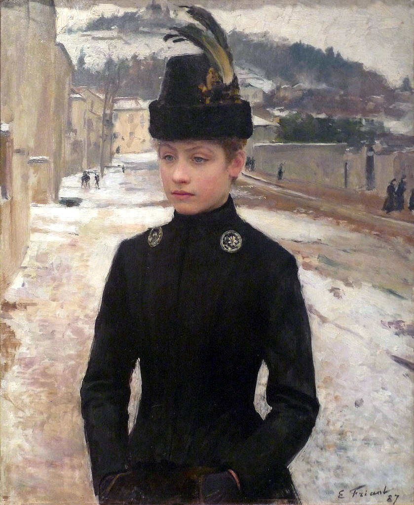 emilefriant_young woman of nancy in a winter landscape - emile friant