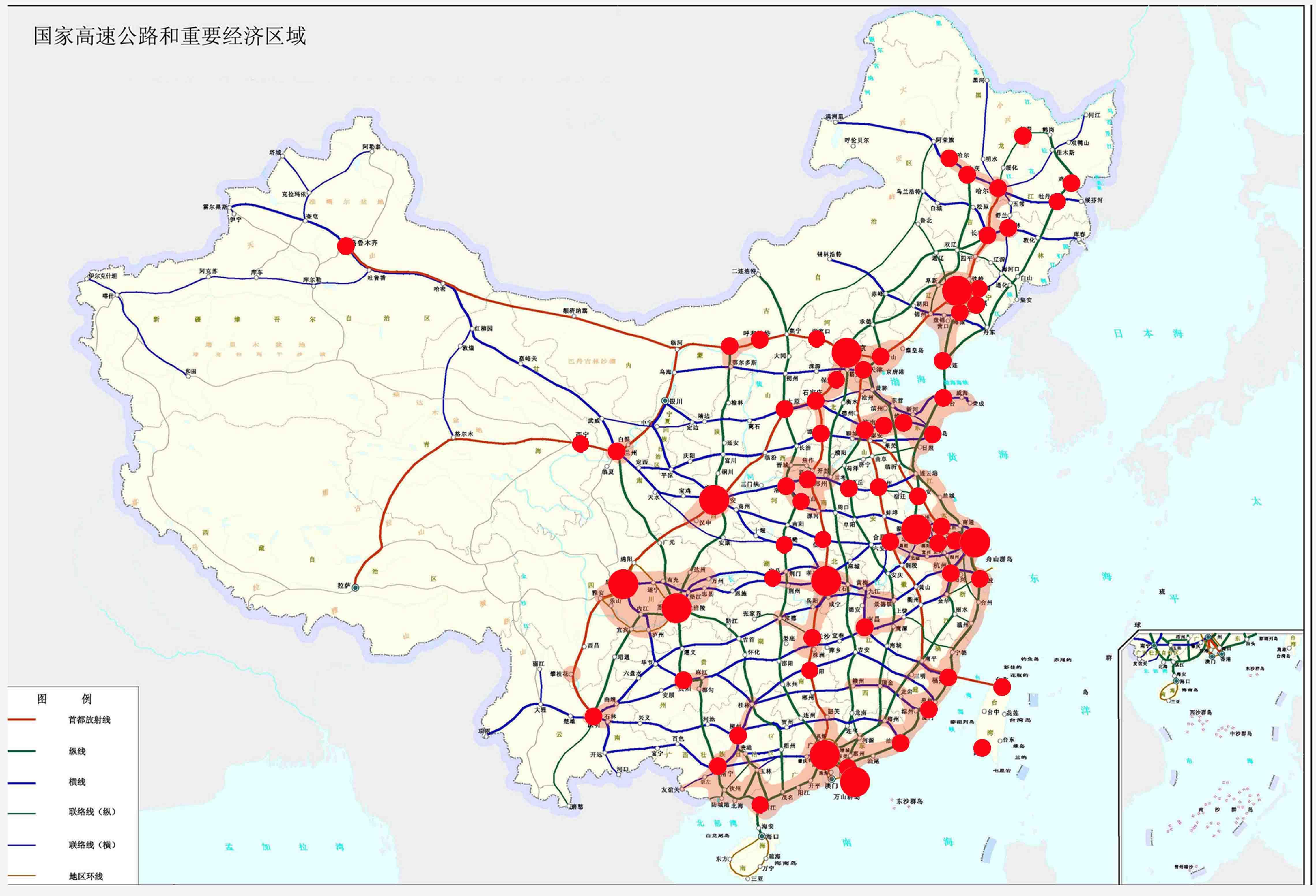 中国百万人口城市分布图